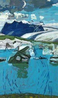 roy, bizley, icelandic, landscape, painting, swindon